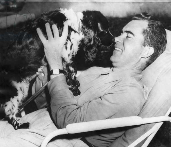 Richard Nixon. Senator and Vice presidential candidate (and future US President) Richard Nixon with his dog, Checkers, 1952