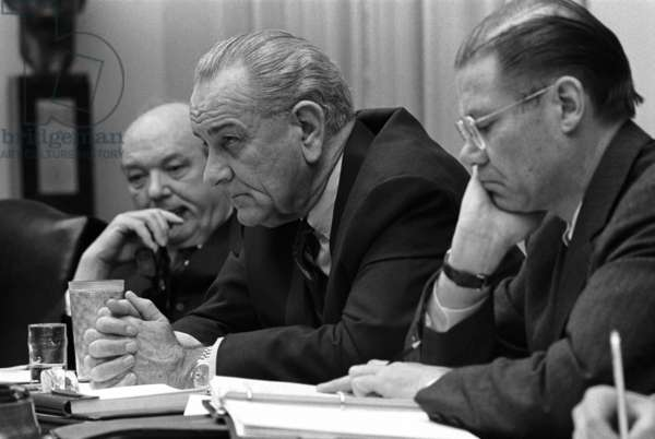 Tet Offensive reactions. Dean Rusk, President Lyndon Johnson, and Robert McNamara meeting in the Cabinet Room on Feb. 9. 1968, during the first weeks of the Tet Offensive in Vietnam