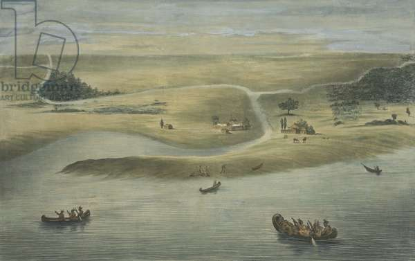 CHICAGO IN 1820, with Native American in canoes on Lake Michigan and Euro-American stockade buildings and grazing horses. 1857 lithograph by Dominique C. Fabronius (lithograph)