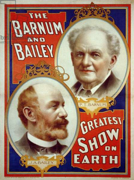 Poster for Barnum & Bailey Greatest Show on Earth (Portraits of P.T. Barnum and J.A. Bailey), 1897 (poster)
