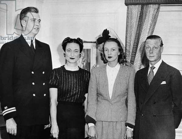 World War II. From left: John Roosevelt (son of US President Franklin Delano Roosevelt), British Duchess Wallis Simpson Windsor, Anne Clark Roosevelt, British Duke and Prince Edward Windsor, Boston, Massachusetts, September 23, 1943