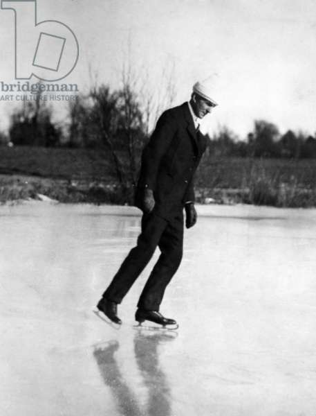 Henry Ford ice skating on a pond near Dearborn, Michigan c. 1925