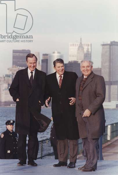 President Reagan and Vice-President and President Elect George Bush with General Secretary Gorbachev on Governor's Island New York. Dec. 7 1988