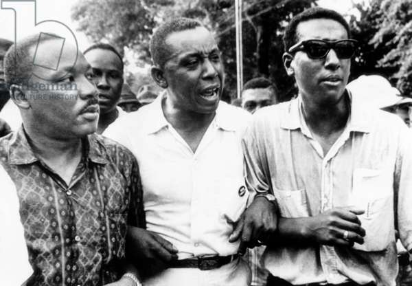 America civil rights activists Dr. Martin Luther King Jr., Floyd McKissick, Stokely Carmichael in Canton, Mississippi, July 1, 1966.