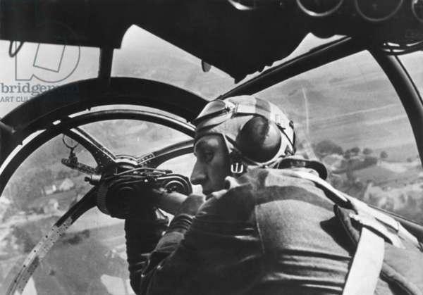 German machine gunner in an airplane during first days of World War 2 in Poland. Sept. 16, 1939