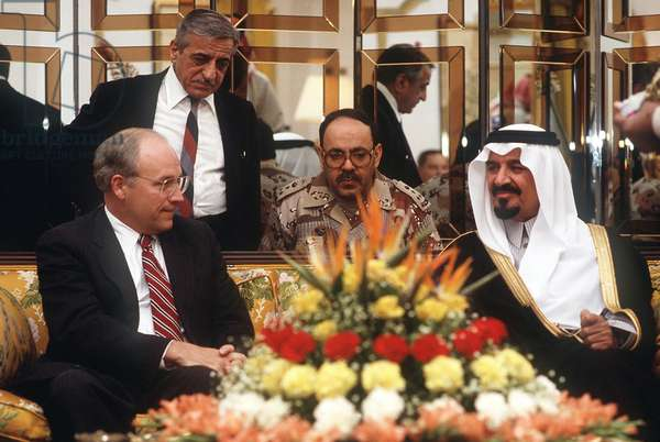 Secretary of Defense Dick Cheney meets with Prince Sultan Minister of Defense and Aviation of Saudi Arabia on Dec 1. 1990. Saudi Arabia provided the staging base for over 500 000 anti-Iraq coalition troops