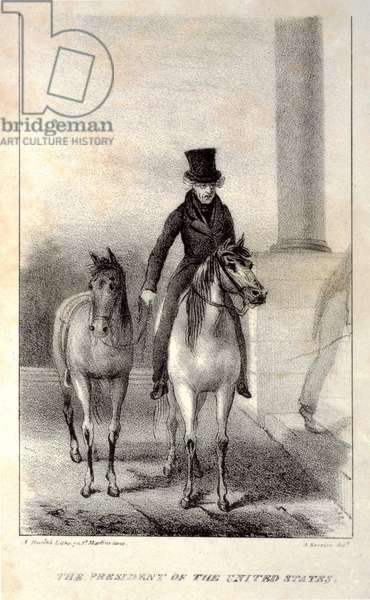 The president of the United States. Andrew Jackson, on horseback with another horse in tow, arriving at the White House, lithograph c. 1829