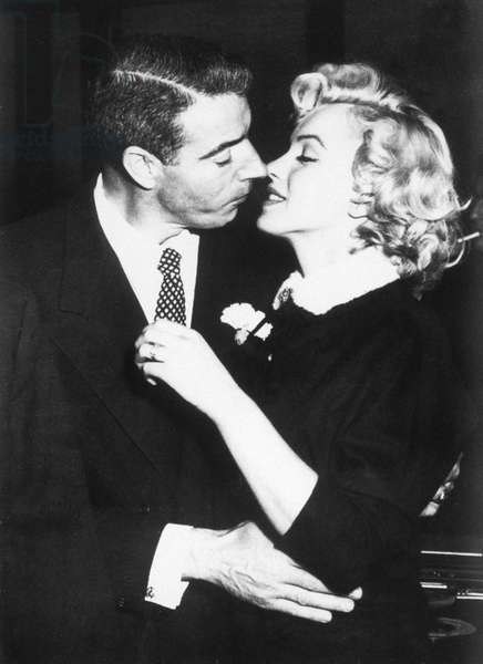 Joe DiMaggio, Marilyn Monroe just after their wedding, 1954