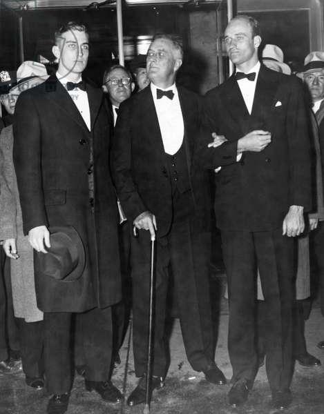 FDR Presidency. From left: Franklin Roosevelt, Jr., US President Franklin Delano Roosevelt, James Roosevelt, New York City, New York, 1935