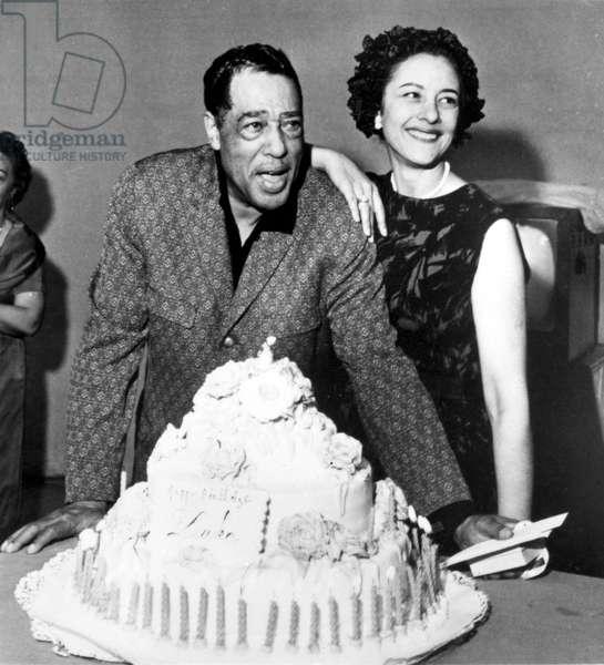 Beatrice Ellis (Evie) with Duke Ellington on his 65th birthday, April 29, 1964