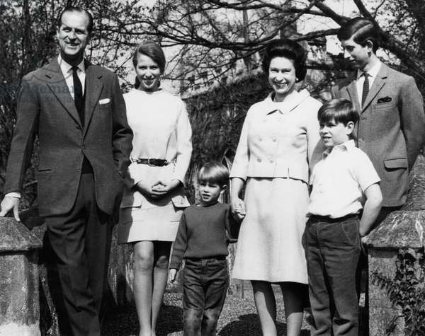 British Royal Family. From left: Prince Philip, Duke of Edinburgh, Anne, Princess Royal of England, future Earl of Wessex Prince Edward, Queen Elizabeth II of England, future Duke of York Prince Andrew, Prince Charles of Wales, celebrating the Queen's 42nd birthday, Frogmore, Windsore, England, April, 1968