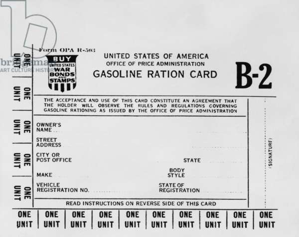 Gasoline ration card B2 for American workers who needed extra gasoline during World War 2. There were A, B1, B2, and B3 cards issued by rationing authorities from 1942-1945