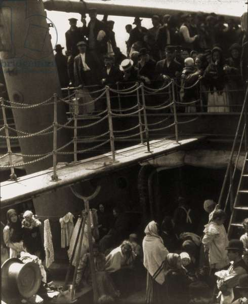 THE STEERAGE, 1907, immigrants on steerage deck of ship arriving in New York, 1907. Photogravure by Alfred Stieglitz (1864-1946), published in CAMERA WORK, 1911