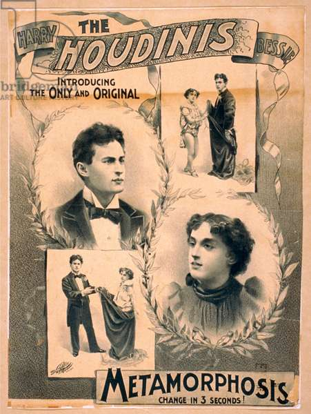 Poster featuring Harry Houdini and wife Bessie, c. 1895