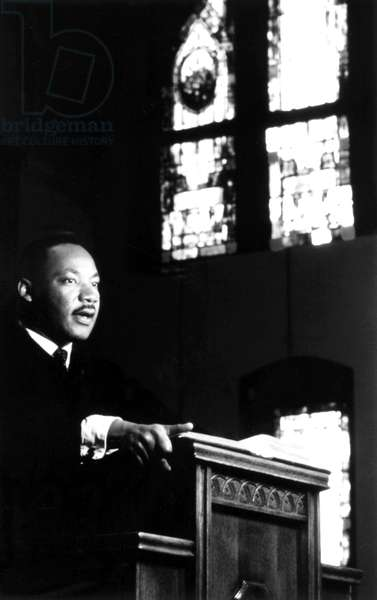 DR. MARTIN LUTHER KING, JR. preaching from his pulpit, 1960s