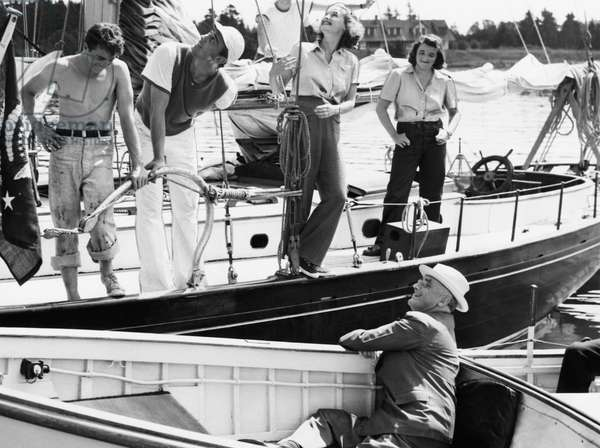 FDR Presidency. Seated, in launch: US President Franklin Delano Roosevelt. Center left: Franklin Roosevelt, Jr. Center right: Ethel du Pont Roosevelt, off Campobello Island, New Brunswick, Canada, 1939