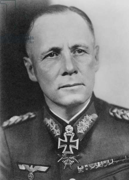 Field Marshall Erwin Rommel, German commander in France and North Africa during World War 2. Rommel had been part of Hitler's circle in 1938-39, but was never a member of the Nazi Party. c. 1940-44