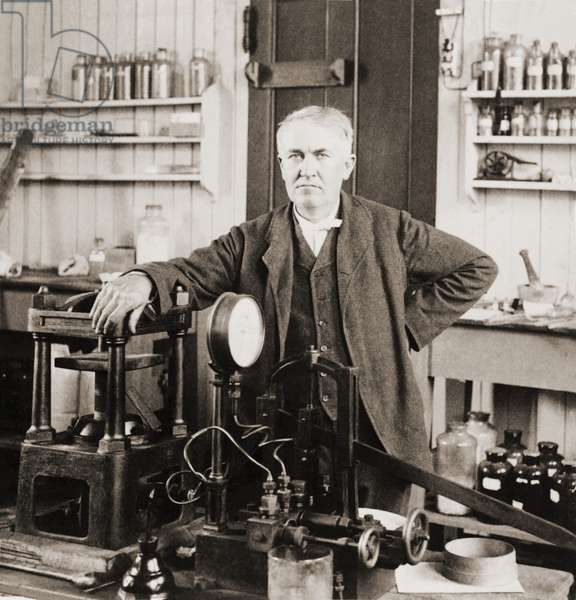 Thomas A. Edison (1847-1931), in his West Orange, New Jersey, laboratory, c. 1901