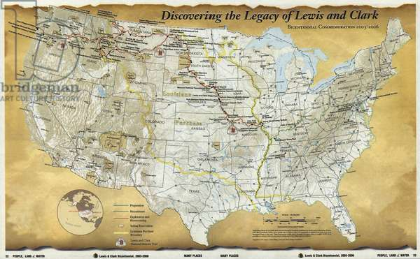 2003 map published for the bicentennial commemoration of the Lewis and Clark Expedition. Legend includes preparation, recruitment, exploration and homecoming, Indian reservations, Louisiana Purchase boundary, and Lewis and Clark National Historic Trail