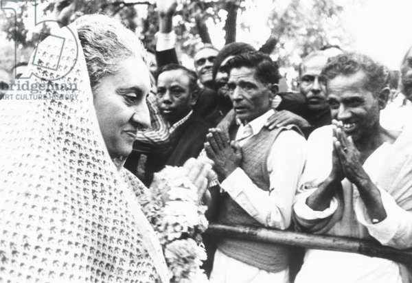 Prime Minister Indira Gandhi cheered as her New Congress Party won a two-thirds majority. March 11, 1971