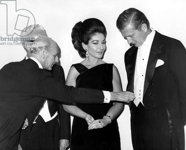 Rudolf Bing, Maria Callas and New York Mayor John V. Lindsay at the opening night of the Metropolitan Opera's 84th Season, 1968