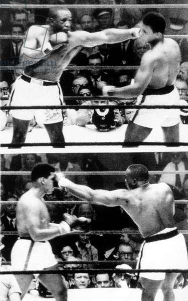 The first Sonny Liston vs. Cassius Clay (Muhammad Ali) fight in Miami, 1964