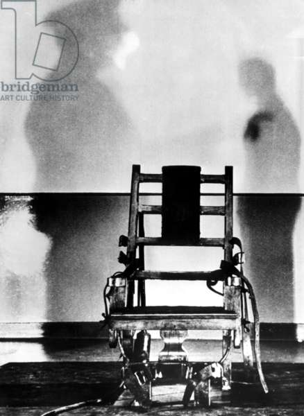 The electric chair that Julius and Ethel Rosenberg were executed in, Sing Sing Prison, 1953