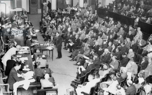 The Sacco-Vanzetti case came back to life Inside Gardener Auditorium at the State House. April 2, 1959. The Joint Committee on the Judiciary held the hearing on a proposal of Rep. Alexander J. Cella of Medford, Mass., that the governor grant a posthumous pardon to the Italian born philosophical anarchists executed 32 years ago for murdering a shoe factory paymaster and a guard. The proposal was denied.