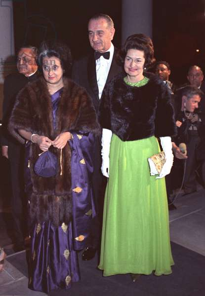 Indira Gandhi with President and Lady Bird Johnson before a State Dinner honoring the Indian Prime Minister. March 28, 1966