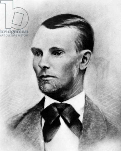 Jesse James, the western outlaw, from a daguerreotype made in 1875 in Nebraska City, Nebraska