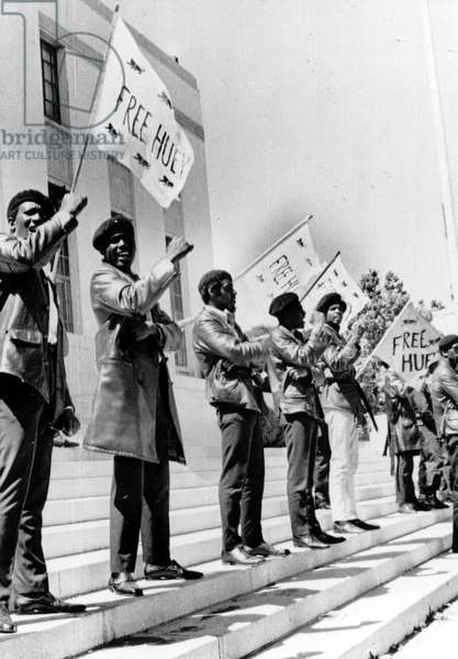 Black Panthers protest demonstrate against trial of Huey Newton in Oakland (Alameda County Courthouse), c. 06-15-1968.