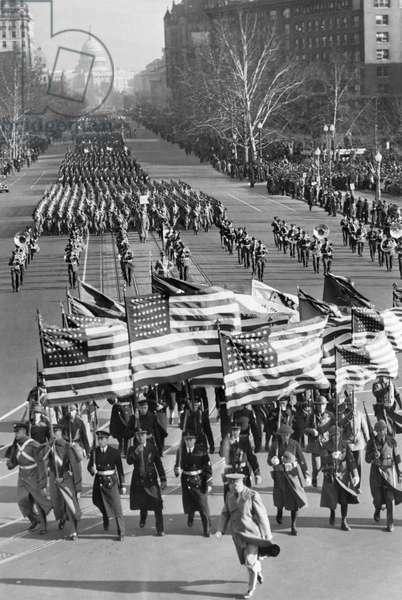 A parade celebrating the third inauguration of President Franklin D. Roosevelt, Washington DC, January 20, 1941