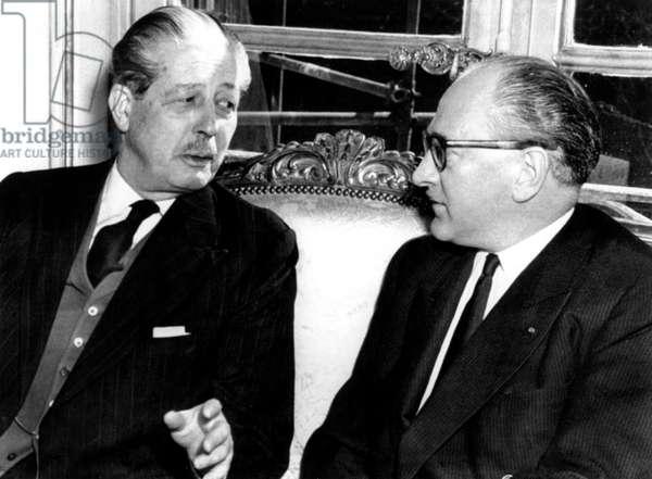 British Prime Minister Harold MacMillan, French Premier Guy Mollet, 03/09/57