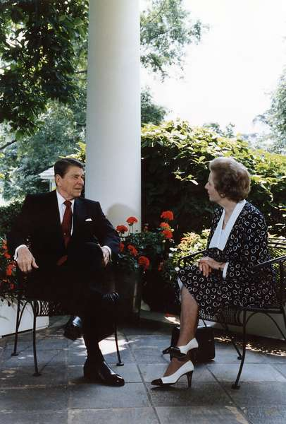 Ronald Reagan. President Reagan and Prime Minister Thatcher talking on the patio outside of the Oval Office. The White House, Washington, D.C. 1986