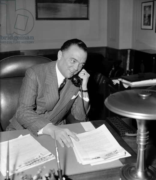 J. Edgar Hoover: J. Edgar Hoover (1895-1972), as director of the Federal Bureau of Investigation in 1940. Under his leadership the FBI was established and over the next 32 years, he would hold the post, becoming so powerful that Presidents Kennedy and Johnson dared not fire him.