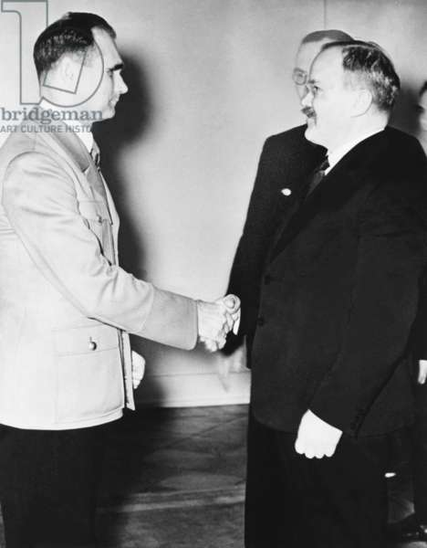 Rudolf Hess (left) greeted Russian Premier Vyacheslav Molotov in Berlin on Nov. 12, 1940. Molotov's discussions with Hitler concerned the division of the world among Germany, Italy, Japan, and the USSR, after the presumed defeat of Britain