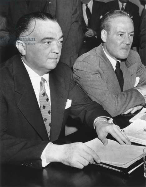 FBI Director J. Edgar Hoover and Assoc. Dir. Clyde Tolson testify at Joint Committee of Congress. c. 1947- 1953