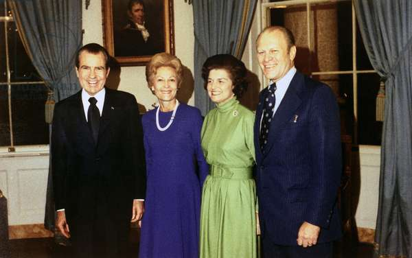 President Richard Nixon, Pat Nixon, Betty Ford, and Representative Gerald Ford following his as the President's choice to succeed disgraced Vice President Sprio T. Agnew. October 12, 1973