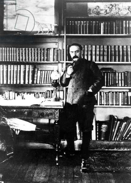 Rudyard Kipling in his study at Naulakha, the nouse near Brattleboro, Vermont, to which Kipling movied in 1892.