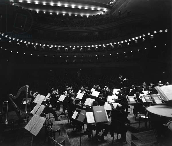 CARNEGIE HALL, the NY Philharmonic Symphony Orchestra, performing at Carnegie Hall, 2/25/1942.