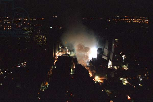 The World Trade Center rescue site in New York City is seen the evening of Friday, Sept. 14, 2001. Photo was taken from President George W. Bush's helicopter, Marine One