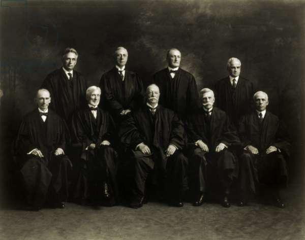 The U.S. Supreme Court in 1921: Left to right: Justices William R. Day, Louis D. Brandeis, Joseph McKenna, Mahlon Pitney, William H. Taft, James Clark McReynolds, Oliver Wendell Holmes, John Hessin Clarke and Willis Van Devanter