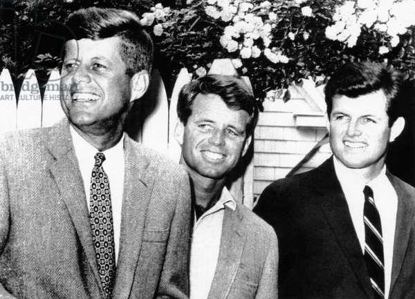 From left, John F. Kennedy, Robert Kennedy, Edward Kennedy, Hyannis Port, July 1960