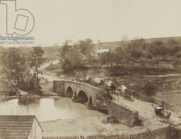 US Civil War. Battle of Antietam, also called Battle of Sharpsburg, Sept. 17, 1862. Crossing over Antietam Creek, the three-arched, 12-foot-wide, 125-foot long bridge was built in 1836. It connected local farmers to the produce and livestock to market in Sharpsburg. In the photo these is subtle evidence of the three hour battle fought over this structure. Photographed at the battlefield by Alexander Gardner on Sept. 20-21 or Oct 3, 1862