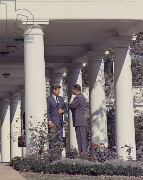 Cuban Missile Crisis. President John Kennedy and Robert McNamara in discussion outside the West Wing. Oct. 29. 1962
