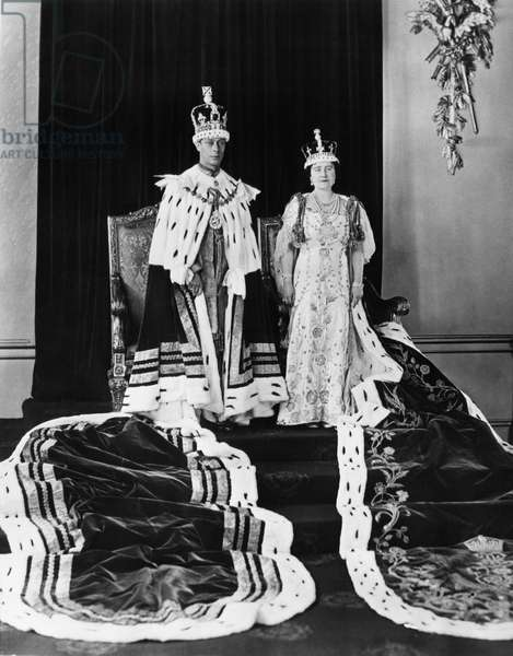 British Royalty. King George VI of England and British Queen Elizabeth (future Queen Mother) in coronation robes, London, England, May, 1937