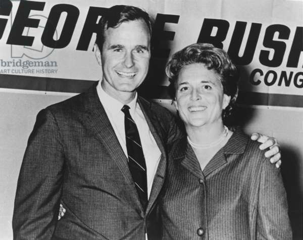 George and Barbara Bush in Houston Texas on the night which George Bush was elected to Congress in 1966