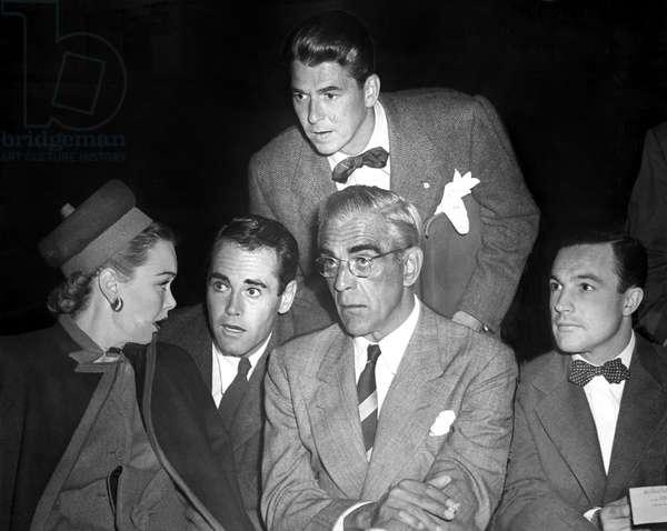 Jane Wyman, Henry Fonda, Ronald Reagan, Boris Karloff, Gene Kelly at an emergency Screen Actors Guild meeting to discuss the strike, 10/3/46