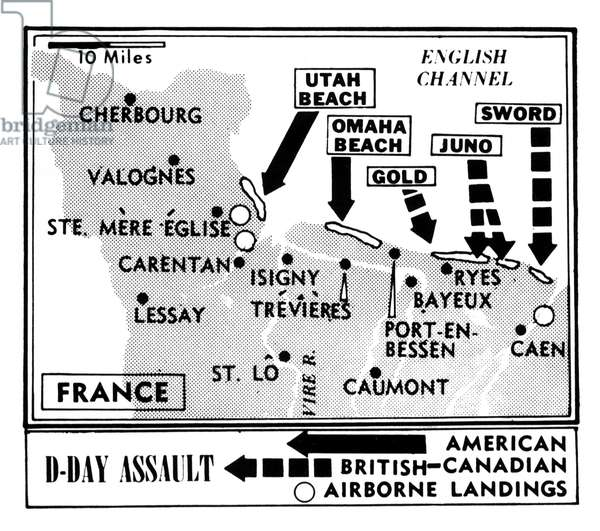 D-Day, Map detailing Allies invasion of Normandy, France, 1944
