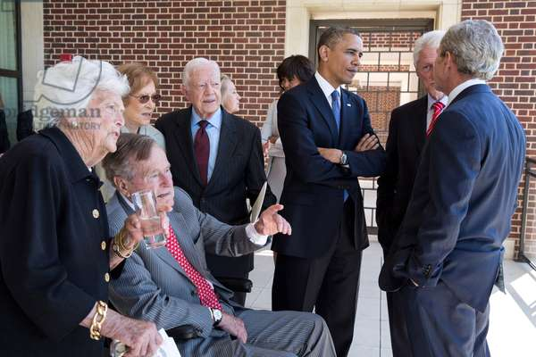 President Barack Obama and First Lady Michelle Obama talk with former Presidents and First Ladies. April 25, 2013.